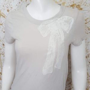J. Crew short sleeve graphic bow tee size small